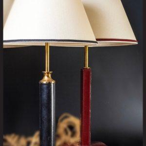 """LAMPE EN CUIR TRAVAIL """"LE TANNEUR"""" VINTAGE 1960"""